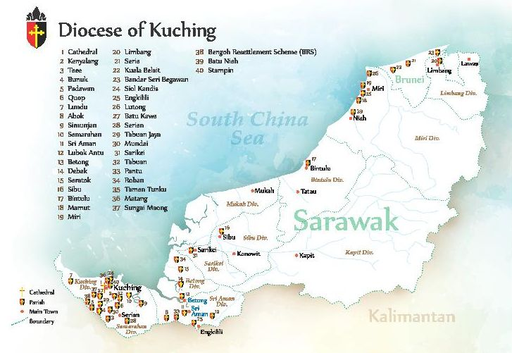 Map of Diocese of Kuching 2018