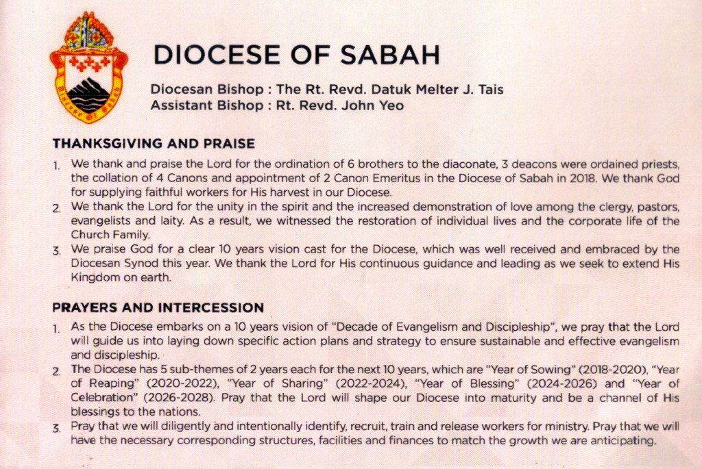 Msge from Diocese of Sabah