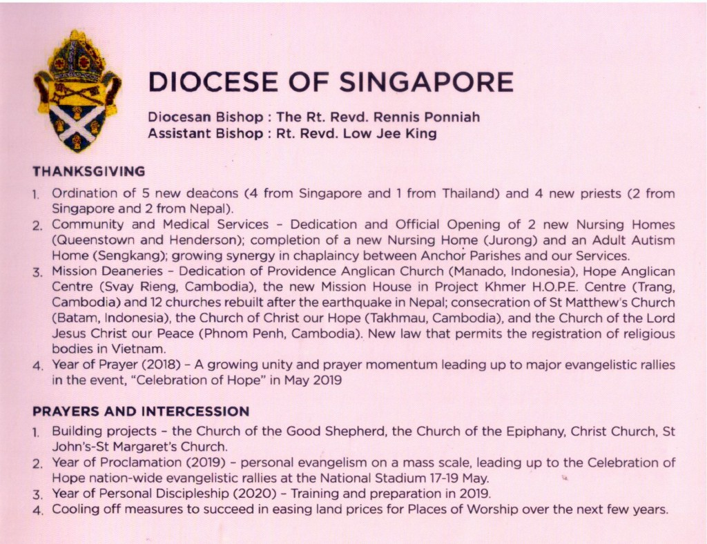 Msge from Diocese of Singapore