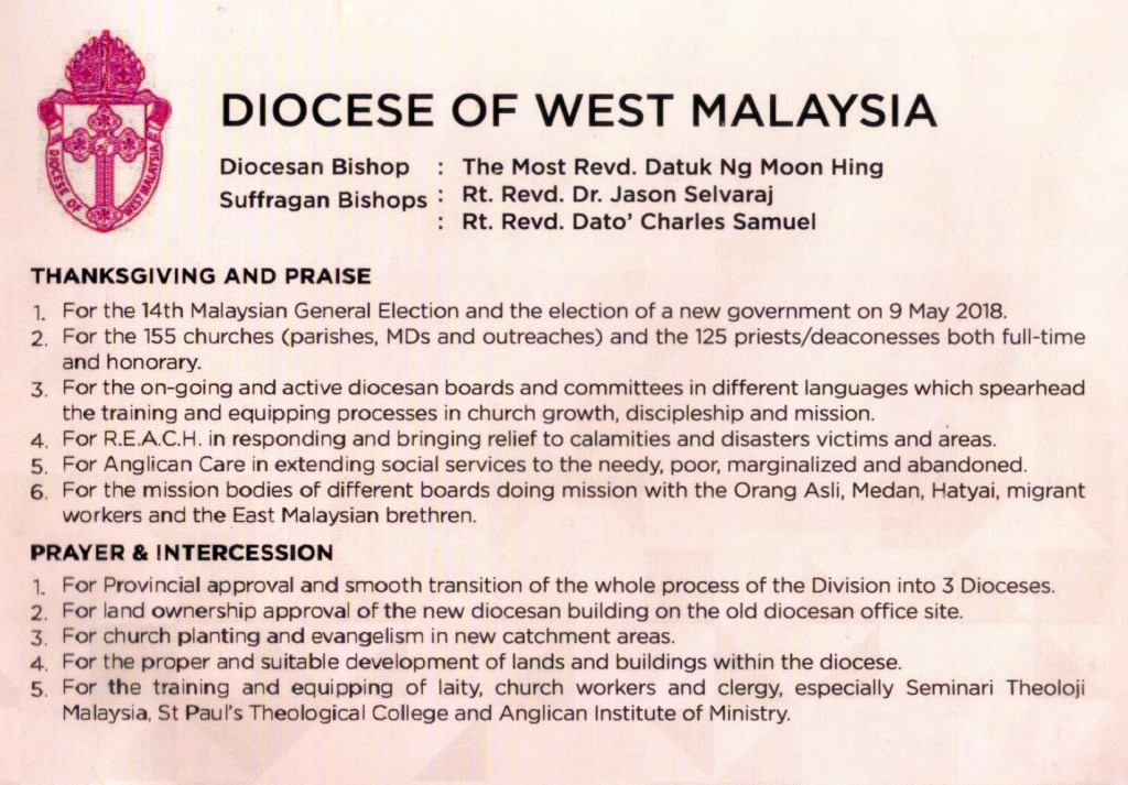Msge from Diocese of West Malaysia